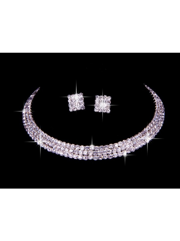 Great Czech Rhinestones Wedding Necklaces Earrings Set
