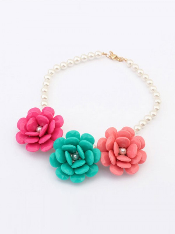 Occident Candy colors Imitation Big Fleurs Grosses Soldes Collier