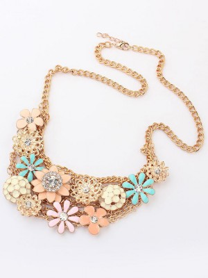 Korean version Sweet Fresh Fleurs Metallic Mode Collier