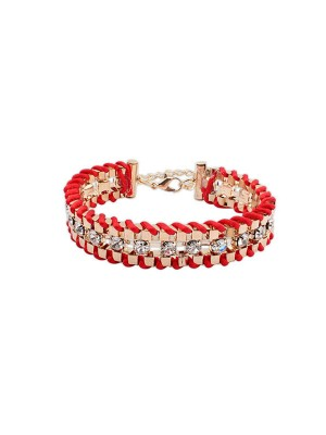 Occident Ethnic Customs Woven Faux Diamants Mode Bracelets